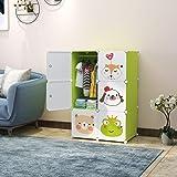 R.K. International 6 Door Plastic Sheet Wardrobe Storage Rack Closet Organizer , Green