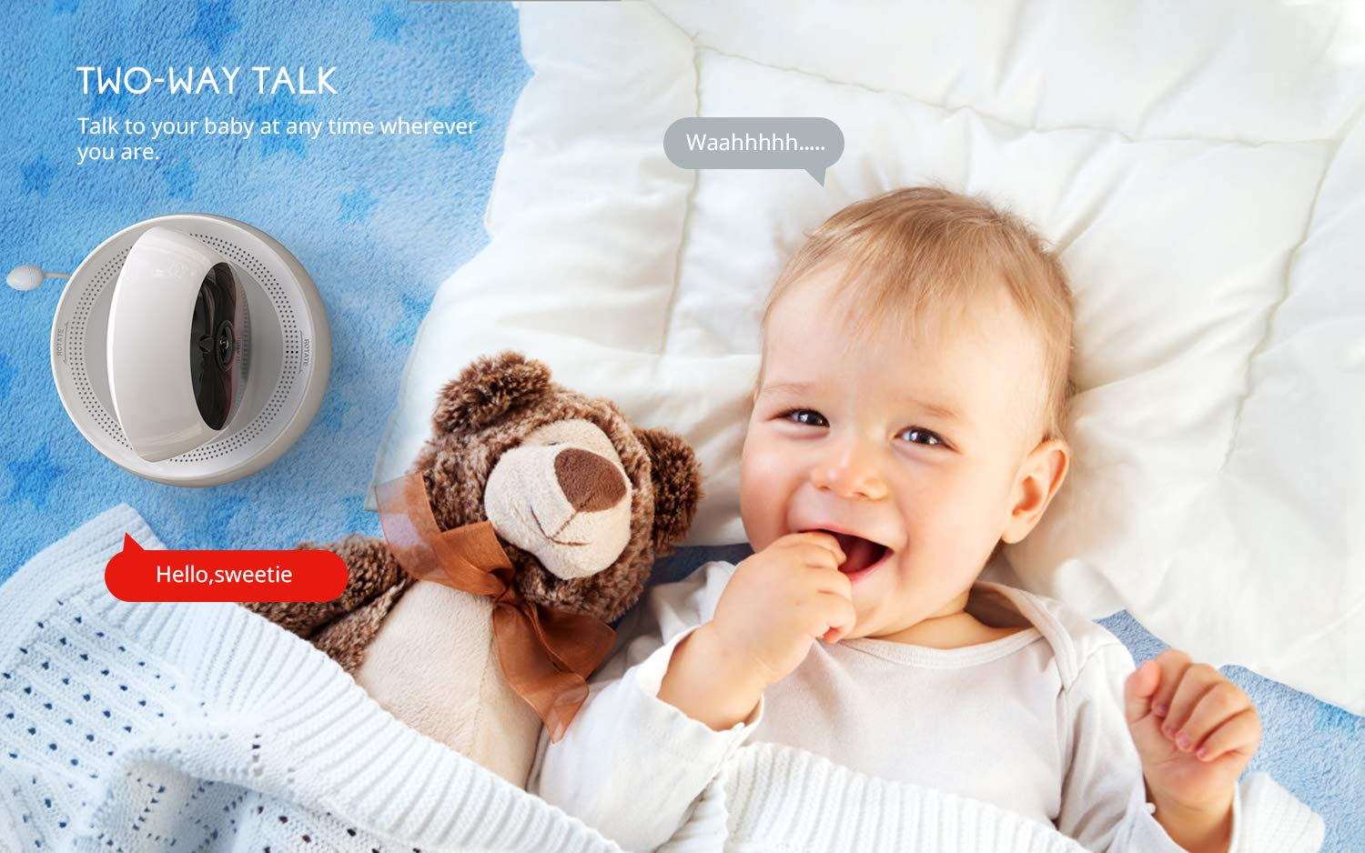 "Baby Monitor, COOAU 5"" Wireless Video Baby Monitor with 1280x720P HD Screen, 2000mAh Rechargeable Battery, Support Two-Way Audio, Infrared Night Vision, Temperature Monitor, 2.4GHz Safe Connection COOAU 👶 5"" 1280*720P HD LCD Screen with 1 Million Pixel Camera: COOAU baby monitor comes with a high quality screen and camera, bring a crystal clear view, no grainy and washed out, even in dark. 👶 Pan Tilt & 2X Zoom-in: You can adjust the angle via 355*120 degree pan/tilt remote control, zoom right in and see if your baby's eyes were opened or closed without any issue. 👶 Infrared Invisible Night Vision: Using 940nm infrared light, effectively protect your baby's eyes. Up to 5 meters night vision viewing distance, pick up images of your baby in dark or low light conditions. 5"