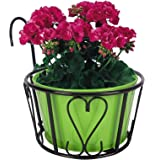 Nuha Iron Railing Round Basket, Stand for Plants, Balcony, Garden, Home Decoration