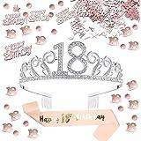 Anyasen coroncina 18 Anni Compleanno Decorazioni Tiara in Strass Birthday Corona 18 Compleanno Happy Birthday 18 Compleanno C