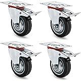 AMIGOB 4 stuks 75 mm transportwielen, zwenkwielen met rem, draagvermogen 50 kg/wiel, zwart, rubber, plaatstaal, capaciteit 15