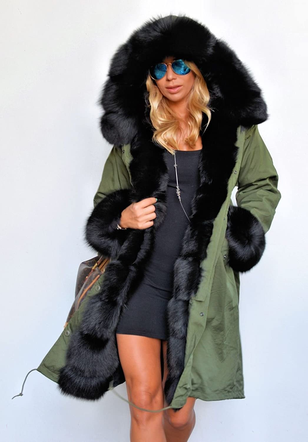 Roiii Ladies Winter Warm Thick Faux Fur Coat Hood Parka Long ...