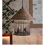 VRCT Love Bird Cage Vintage Edison Rope Ceiling Hanging Pendant Lights Lamp For Cafe Restaurant And Home Decorative (Black)