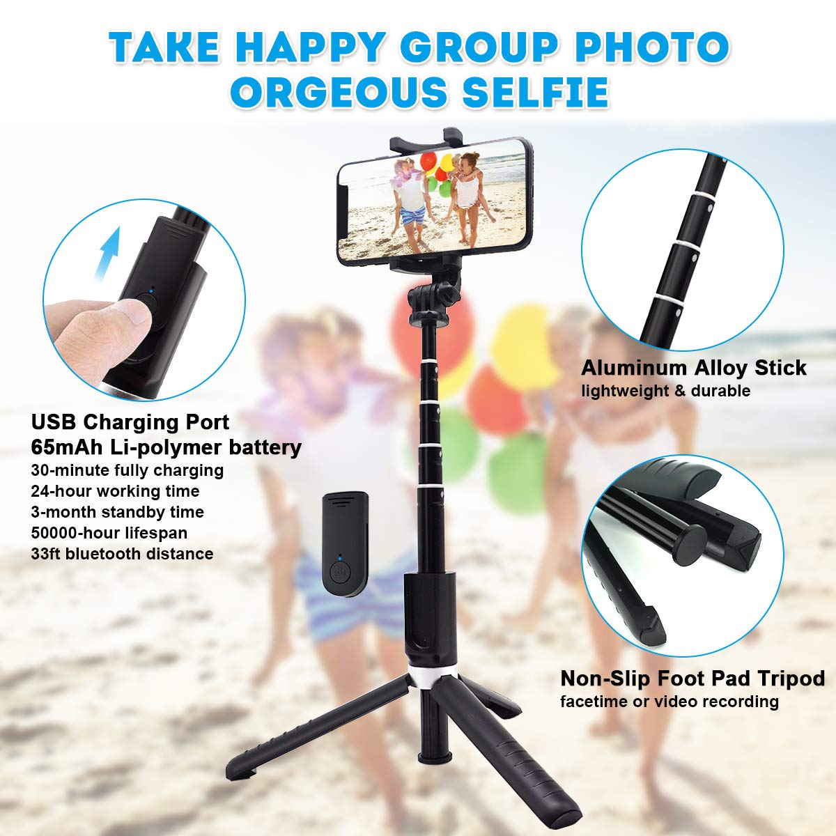 White Bluetooth Selfie Stick Tripod Mini Extendable 3 in 1 Aluminum Selfie Stick with Wireless Remote and Tripod Stand with 270 Rotation Function for iPhone 11// Pro//XS Max//XS//XR//X//8//7