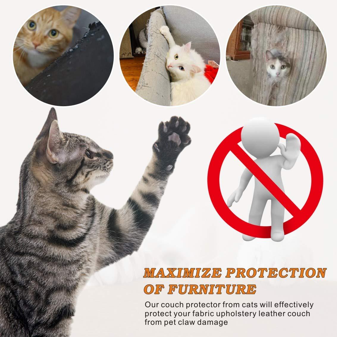 Idepet 4PCS Protezione Graffi Gatto,Autoadesive AntiGraffio Protector con 40 Viti Tappetino tiragraffi per Gatti Protettivo per Divano, Gambe di tavoli e sedie
