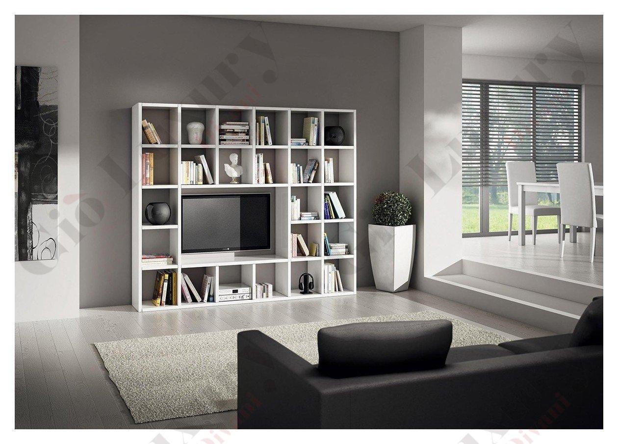 Ensemble Salon Compos De Biblioth Que Meuble Tv Blanc Pore Ouvert  # Bibliotheque Meuble Tv
