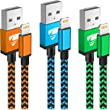 iPhone Charger Cable 2m 3Pack iPhone Charging Cable Long iPhone Lightning Cable Colored Braided USB iPhone Fast Charger Lead