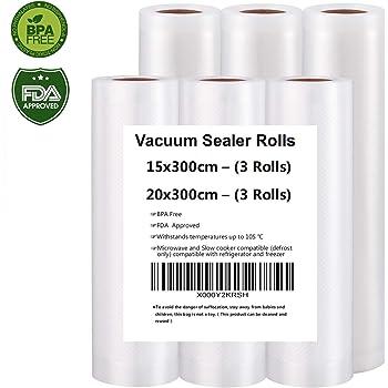 Sacs Sous vide Pack de 3 rouleaux 20x300cm et 3 rouleaux 15x300cm, Sac sous vide alimentaire pour appareil sous vide,  approbation de la FDA et BPA gratuit