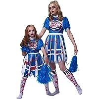 IKALI Mädchen Zombie Cheerleader Kostüm, Mädchen Senior Mittelschule Blutig Verkleidung Halloween Outfits Für 3-4 Jahre