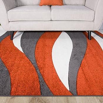 Terracotta Orange Colour Curvy Wave Pattern Design Living