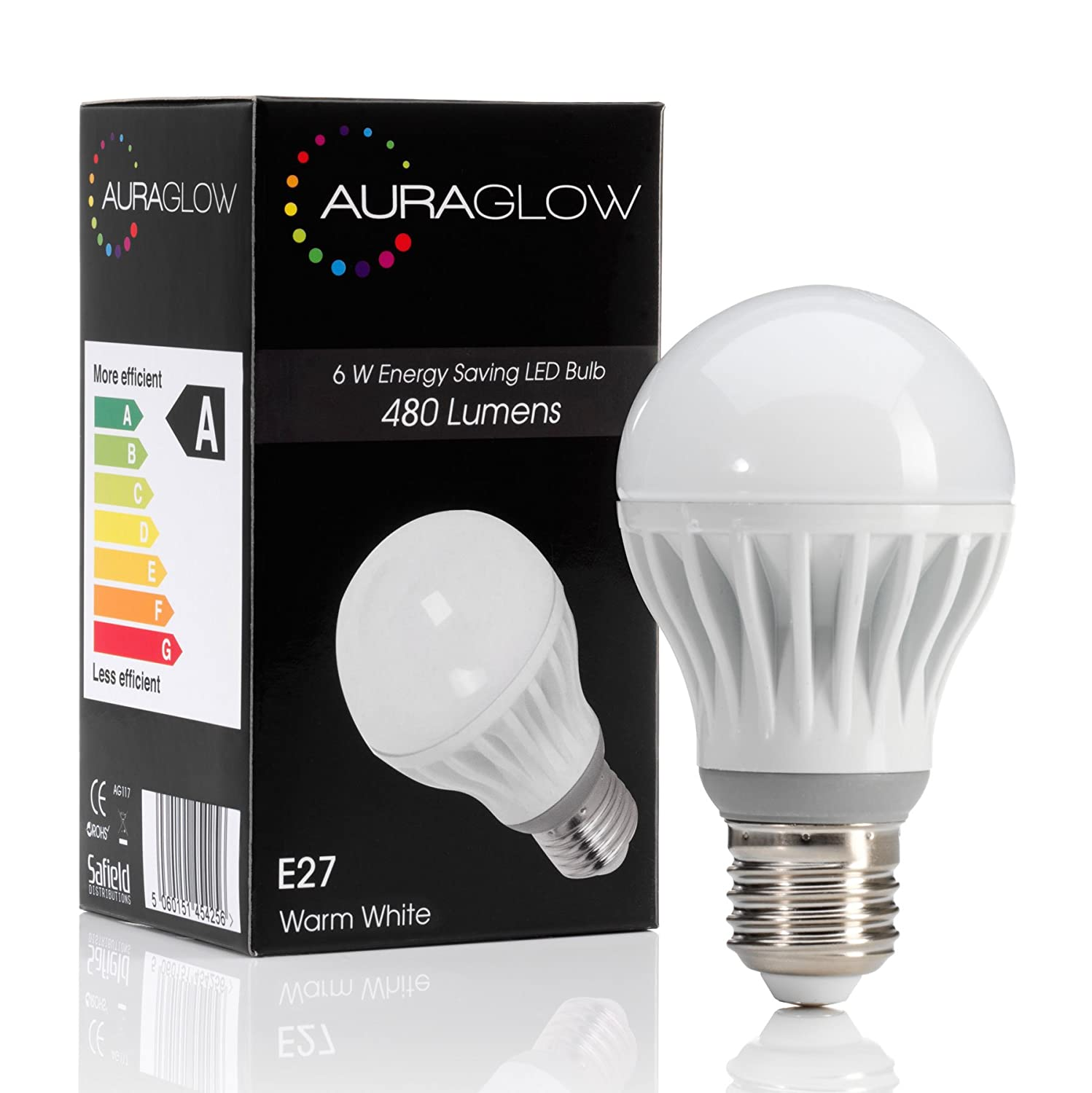 auraglow 6w led e27 screw light bulb warm white 40w equivalent amazoncouk diy u0026 tools