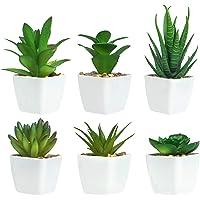 6 Pièces de Plantes Succulentes Artificielles en Pot, Plantes Succulentes Artificielles Vertes, Utilisées pour Le Bureau…