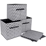 ilauke 4pcs Cube de Rangement Pliable Boîtes de Rangement Textile Non-Tissé Boîtes Tiroirs avec Poignée pour Linge Jouets Vêt