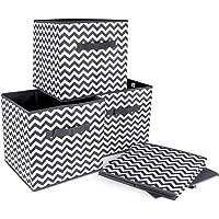 ilauke 4pcs Cube de Rangement Pliable Boîtes de Rangement Textile Non-Tissé Boîtes Tiroirs avec Poignée pour Linge…