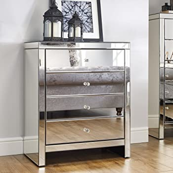 Mirrored Bedroom Furniture, Happy Beds Seville Silver 4 Drawer Chest -  Height 92 cm, Width 75 cm, Depth 46 cm