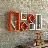Dime Store Engineered Wood wall shelf,Glossy Finish,Set Of 6,Orange ; White