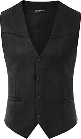 PJ PAUL JONES Men's Suede Leather Suit Vests Casual Western Cowboy Waistcoat