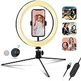 """10"""" Luce ad Anello, Luce per Selfie con Treppiede e Telecomando Bluetooth, Lampada Tik Tok con 3 Colori e 10 Livelli di Lumin"""