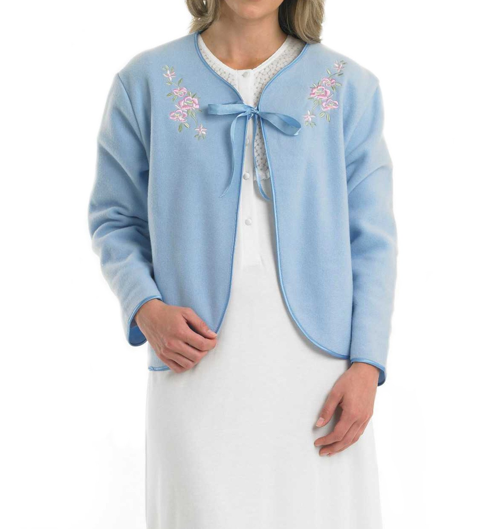 Slenderella Ladies Soft Polar Fleece Ribbon Tie Bed Jacket Floral Embroidered Detail House Coat