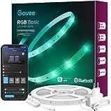 Govee LED Streifen 15m, Bluetooth RGB LED Strip mit App-Steuerung, Farbwechsel, Musik Sync, 64 Szenenmodus, Lichterkette für