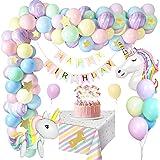 MMTX Unicorno Decorazioni per Feste di Compleanno, Palloncini per Festa di Compleanno con Enorme Palloncino 3D Unicorno, Stri