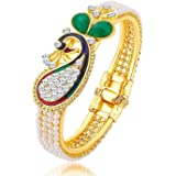 Jewel Farm Women's Brass Gold Plated and Pearl Bangles (White, Yellow)