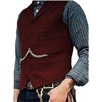 Lovee Tux - Gilet da uomo a spina di pesce, stile formale, da business, con risvolto dentellato, di lana/tweed, per…
