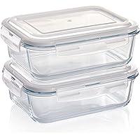 Grizzly Boîte Alimentaire en Verre Hermétiques avec Couvercles Lot de 2 Rectangulaires 1520 ML - Boîtes Conservation…
