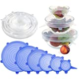 DHANIM Silicone Stretch Lids reuseable Flexible Covers for Rectangle, Round, Square Bowls, Dishes, Plates, Cans, Jars…