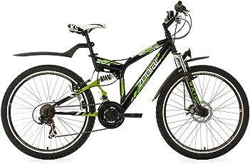 KS Cycling Fahrrad Mountainbike ATB Fully Zodiac RH 48 cm, Schwarz/Grün, 26, 328M