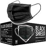 BLACK SHIELD - Mascherine Chirurgice Certificate CE Nere 3 veli - Dispositivo Medico di Tipo I - 50 Pezzi