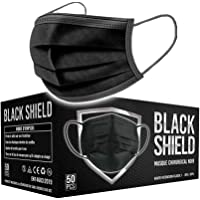BLACK SHIELD - Certification CE - Masque chirurgical MEDICAL noir - Lot de 50 - TYPE 1 - Filtration EFB >95% - EN14683