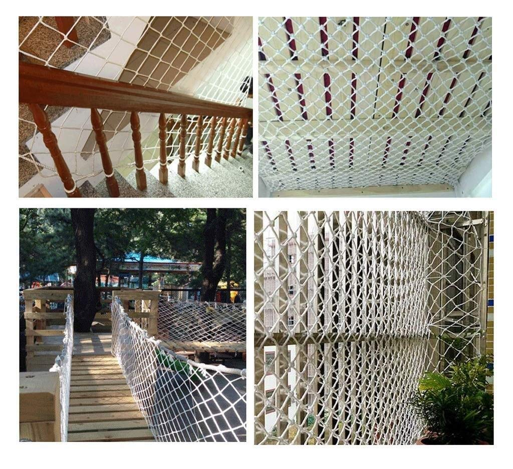 Protective net, anti-fall safety net cat net balcony safety net children's fence net safety net decoration net kindergarten playground park stadium multi-purpose (Size : 10 * 10M(33 * 33ft))  ◆ Safety net wire diameter 6MM, mesh spacing 10CM.Color: white rope net.Our protective mesh can be customized according to your needs. ◆Protective net material: Made of nylon braided rope, hand-woven, tightened.Exquisite workmanship, solid and stable, can withstand 300kg weight impact. ◆Features of decorative net: soft material, light mesh, multi-layer warp and weft, fine wiring, fine workmanship; clear lines, non-slip durable, anti-wear. 3