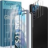 TOCOL 6 Pièces Compatible avec Samsung Galaxy S21 6.2 Pouces, 3 Pièces Verre Trempé et 3 Pièces Vitre Caméra Arrière Protecte