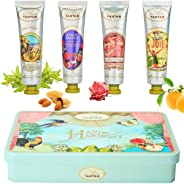 Gifts For Women: 4 Hand Cream Gift Set/Shea Butter, Aloe Vera/Lovely Tin Box/by Un Air d'Antan®/ 4 Perfume: Verbena, Rose, Li