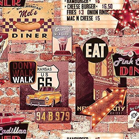 American Diner Wallpaper USA Brick Effect Rustic Slate Cars Route