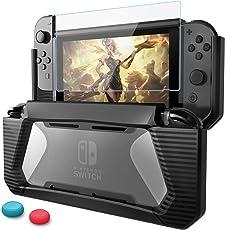 Nintendo Switch Custodia con Protezione Schermo,HEYSTOP TPU PC Protettiva Custodia per Nintendo Switch,Comfort Grip Cover con Assorbimento Degli Urti e Anti-Graffio