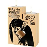 Delisouls Heart-Shaped Hollow Candle Holder, To My Girl I Love You Candlestick with Candle, Gift for Birthday Anniversary Chr