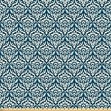 ABAKUHAUS Damasco Tessuto a Metraggio, Motivo Floreale Blu, Tessuto in Microfibra per Arte e Artigianato Tessili & Decor, 5M (160x500cm), Blu Bianco