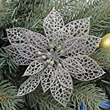 Futaba Christmas Flowers Xmas Tree Decorations Wedding Party Decor Ornaments-Silver