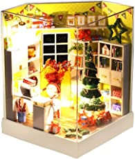 iBaste DIY Puppenstube mit Miniatur Möbel, Puppenhaus Miniatur Puppenhaus Moebel DIY Dollhouse Kit Kinder Geschenk mit Led Licht
