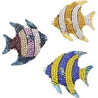 Unigift 3 pezzi delicati pesci pagliaccio blu oro multicolore cristallo smalto tropicale oceano mare animale pesce…