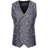 MU2M Men Slim Fit Suit Vest Business Tuxedo Vest Double Breasted Waistcoat