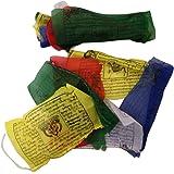 """Gebetsfahnen, handgefertigt, Fair Trade, tibetisch-buddhistisch, Baumwolle, Wind-Pferde aus Nepal–25Flaggen – über 5m lang """"EINWEG"""""""