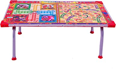 Avani MetroBuzz Wooden Ludo ,Snakes & Ladders Printed Foldable Study Table (Small)