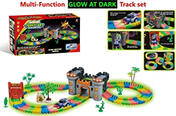 Happy GiftMart 158 Pcs Glow In The Dark Race Track Magical Set With Castle