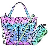 Hot One Handtasche Damen Geometrische Reflektierende Umhängetasche Geldbeutel Damen Taschen Set Rucksack