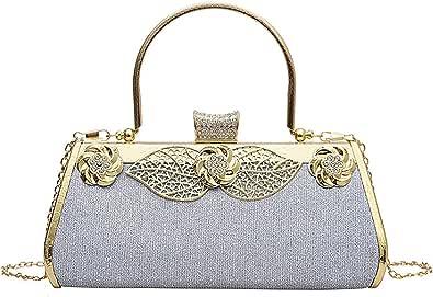 MEGAUK Damen Glitzer Abendtasche Vintage Clutch Tasche mit Abnehmbare Kette für Hochzeit Bankett Prom Party, Silber
