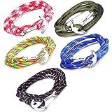 Unendlich U Hope, braccialetto intrecciato in corda di nylon, multistrato, con ciondolo a forma di ancora, confezione da 1 o