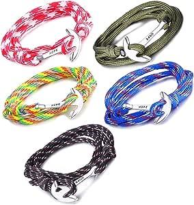 Unendlich U Hope, braccialetto intrecciato in corda di nylon, multistrato, con ciondolo a forma di ancora, confezione da 1 o da 5
